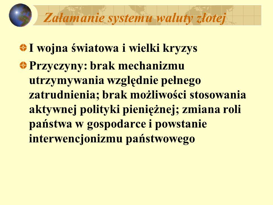 Załamanie systemu waluty złotej I wojna światowa i wielki kryzys Przyczyny: brak mechanizmu utrzymywania względnie pełnego zatrudnienia; brak możliwoś