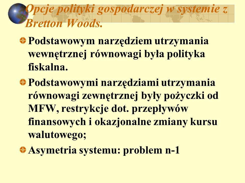 Opcje polityki gospodarczej w systemie z Bretton Woods. Podstawowym narzędziem utrzymania wewnętrznej równowagi była polityka fiskalna. Podstawowymi n