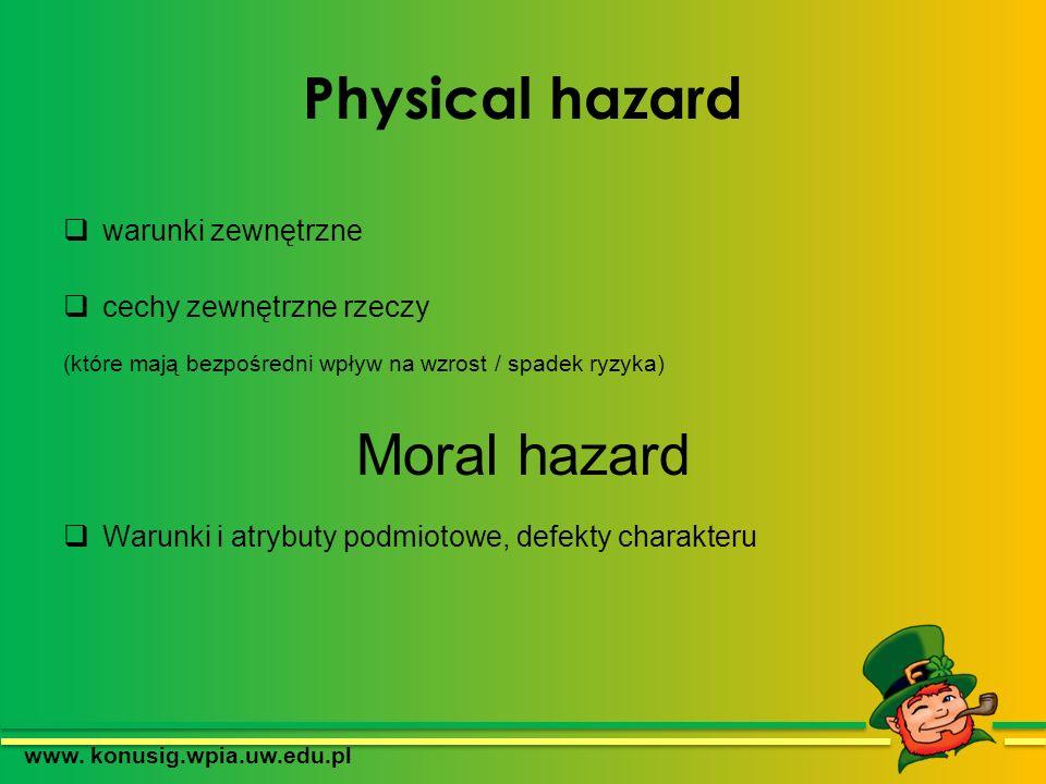 Physical hazard warunki zewnętrzne cechy zewnętrzne rzeczy (które mają bezpośredni wpływ na wzrost / spadek ryzyka) Moral hazard Warunki i atrybuty po