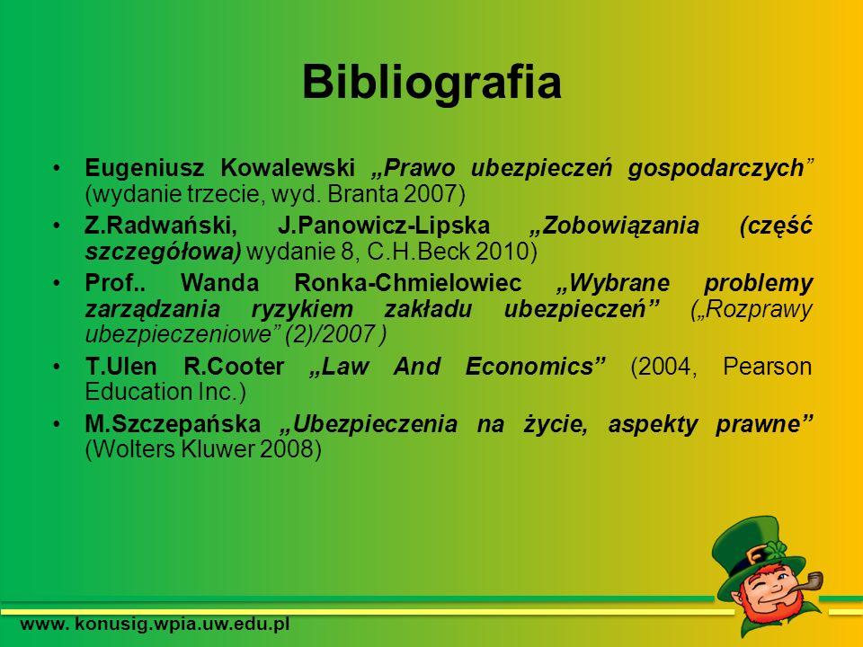 Bibliografia Eugeniusz Kowalewski Prawo ubezpieczeń gospodarczych (wydanie trzecie, wyd. Branta 2007) Z.Radwański, J.Panowicz-Lipska Zobowiązania (czę
