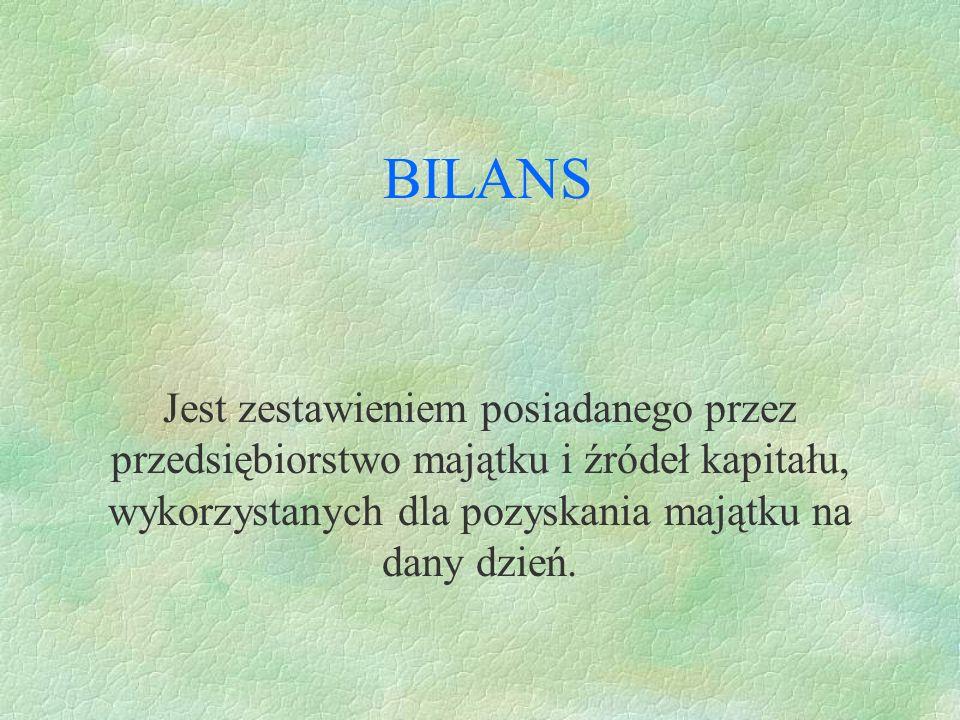 BILANS Jest zestawieniem posiadanego przez przedsiębiorstwo majątku i źródeł kapitału, wykorzystanych dla pozyskania majątku na dany dzień.