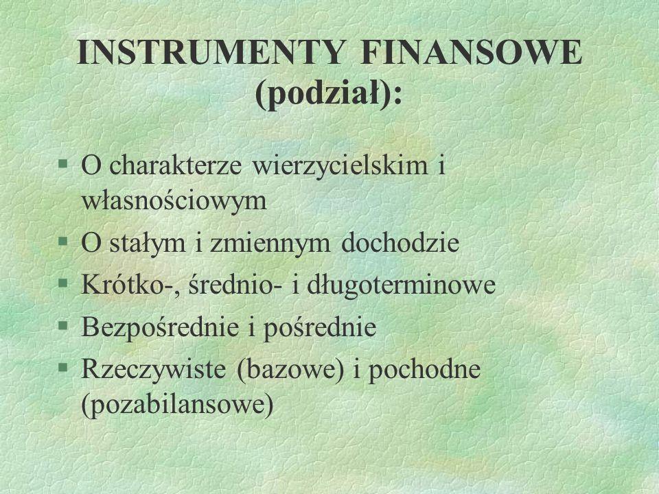INSTRUMENTY FINANSOWE (podział): §O charakterze wierzycielskim i własnościowym §O stałym i zmiennym dochodzie §Krótko-, średnio- i długoterminowe §Bez