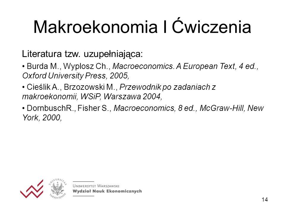 14 Makroekonomia I Ćwiczenia Literatura tzw. uzupełniająca: Burda M., Wyplosz Ch., Macroeconomics. A European Text, 4 ed., Oxford University Press, 20