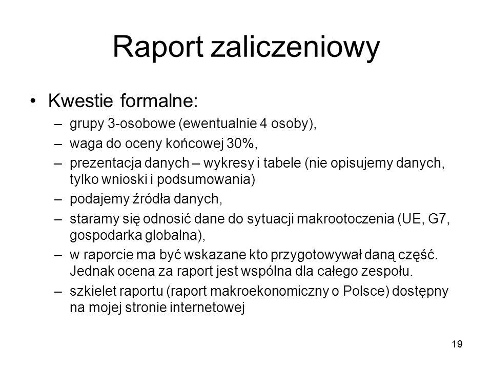 19 Raport zaliczeniowy Kwestie formalne: –grupy 3-osobowe (ewentualnie 4 osoby), –waga do oceny końcowej 30%, –prezentacja danych – wykresy i tabele (