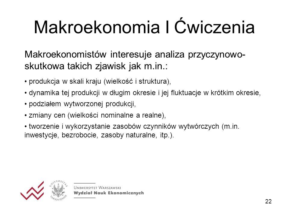 22 Makroekonomia I Ćwiczenia Makroekonomistów interesuje analiza przyczynowo- skutkowa takich zjawisk jak m.in.: produkcja w skali kraju (wielkość i s