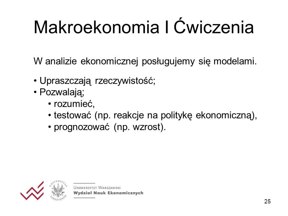 25 Makroekonomia I Ćwiczenia W analizie ekonomicznej posługujemy się modelami. Upraszczają rzeczywistość; Pozwalają; rozumieć, testować (np. reakcje n