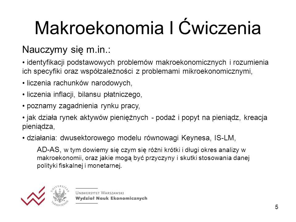 5 Makroekonomia I Ćwiczenia Nauczymy się m.in.: identyfikacji podstawowych problemów makroekonomicznych i rozumienia ich specyfiki oraz współzależnośc