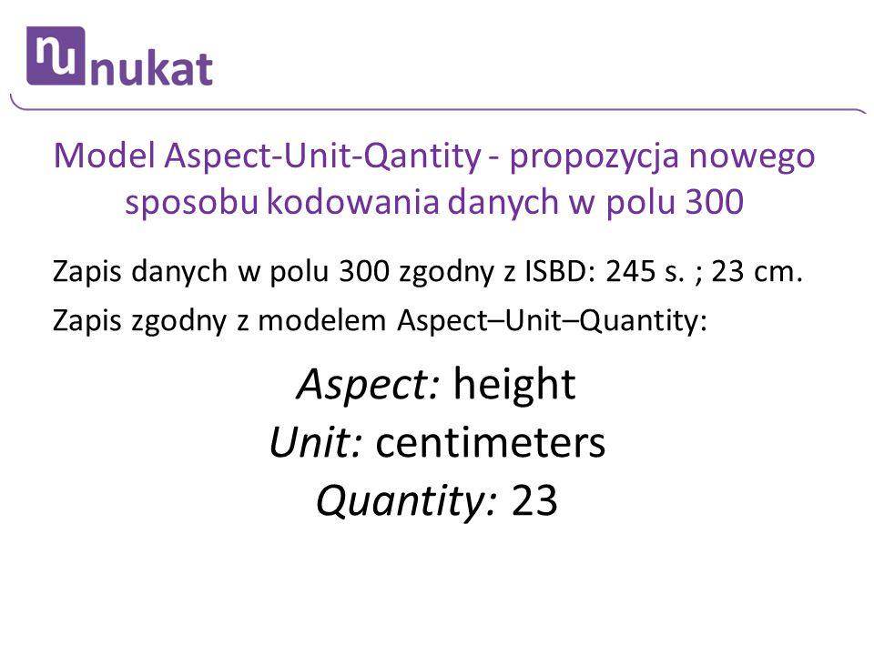 Model Aspect-Unit-Qantity - propozycja nowego sposobu kodowania danych w polu 300 Zapis danych w polu 300 zgodny z ISBD: 245 s. ; 23 cm. Zapis zgodny