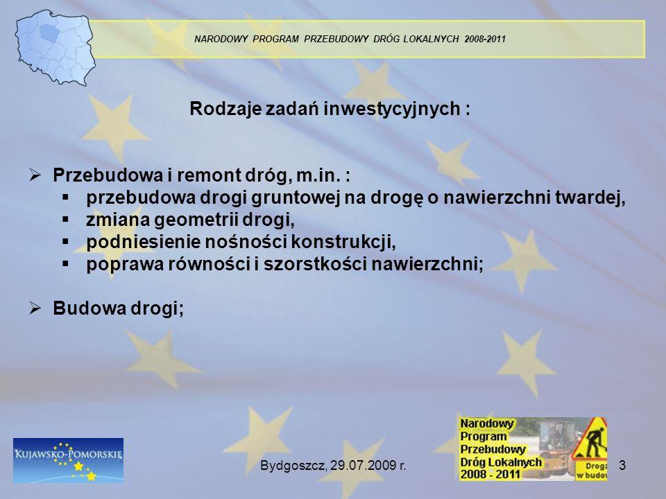 Bydgoszcz, 29.07.2009 r.3 NARODOWY PROGRAM PRZEBUDOWY DRÓG LOKALNYCH 2008-2011 Rodzaje zadań inwestycyjnych : Przebudowa i remont dróg, m.in. : przebu