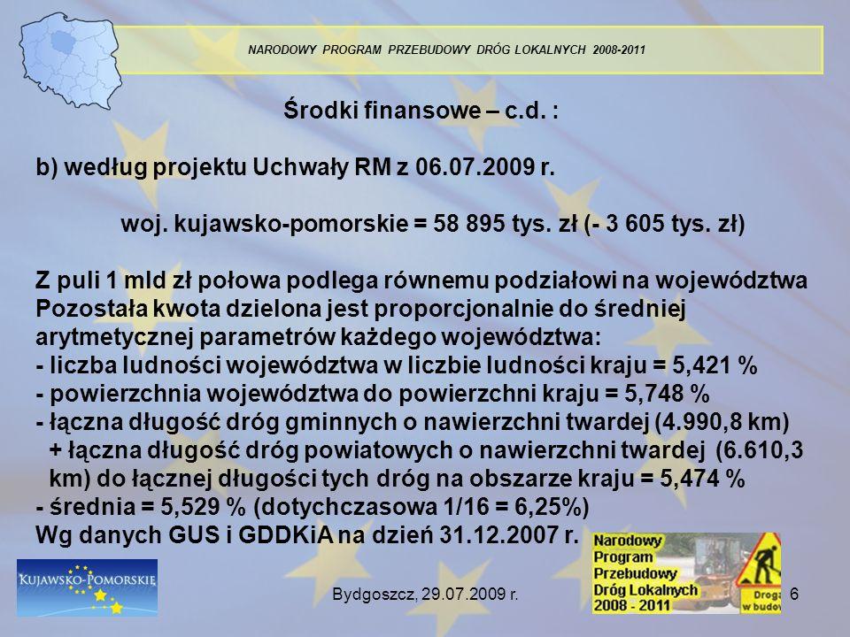 Bydgoszcz, 29.07.2009 r.6 NARODOWY PROGRAM PRZEBUDOWY DRÓG LOKALNYCH 2008-2011 Środki finansowe – c.d. : b) według projektu Uchwały RM z 06.07.2009 r.