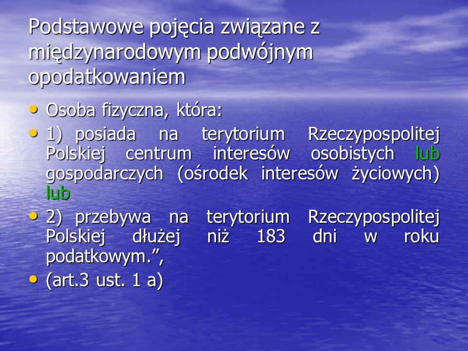 Podstawowe pojęcia związane z międzynarodowym podwójnym opodatkowaniem Osoba fizyczna, która: Osoba fizyczna, która: 1)posiada na terytorium Rzeczypos