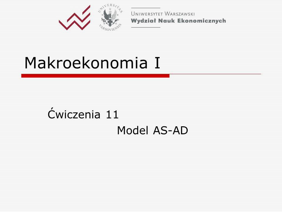 Katedra Makroekonomii WNE UW11 Polityka gospodarcza w modelu AS- AD.