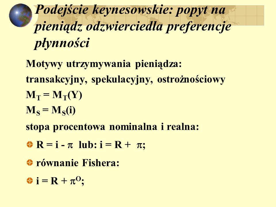 Podejście keynesowskie: popyt na pieniądz odzwierciedla preferencje płynności Motywy utrzymywania pieniądza: transakcyjny, spekulacyjny, ostrożnościowy M T = M T (Y) M S = M S (i) stopa procentowa nominalna i realna: R = i - lub: i = R + ; równanie Fishera: i = R + O ;