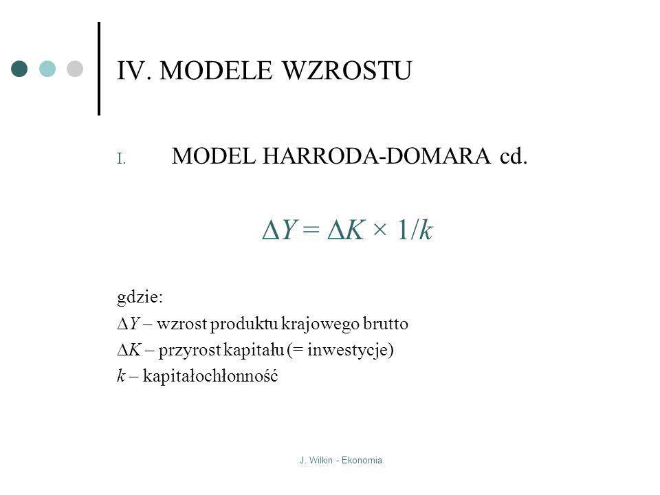 J. Wilkin - Ekonomia IV. MODELE WZROSTU I. MODEL HARRODA-DOMARA cd. Y = K × 1/k gdzie: Y – wzrost produktu krajowego brutto K – przyrost kapitału (= i