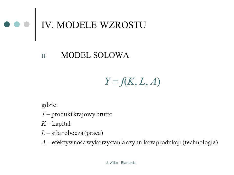J. Wilkin - Ekonomia IV. MODELE WZROSTU II. MODEL SOLOWA Y = f(K, L, A) gdzie: Y – produkt krajowy brutto K – kapitał L – siła robocza (praca) A – efe