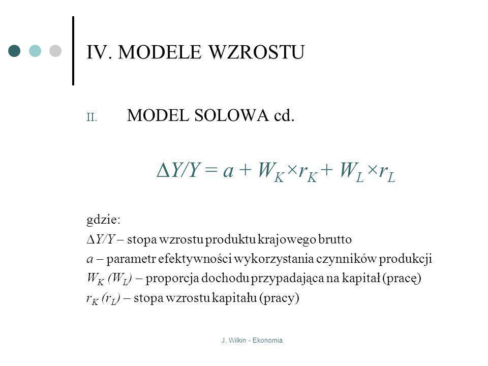 J. Wilkin - Ekonomia IV. MODELE WZROSTU II. MODEL SOLOWA cd. Y/Y = a + W K ×r K + W L ×r L gdzie: Y/Y – stopa wzrostu produktu krajowego brutto a – pa