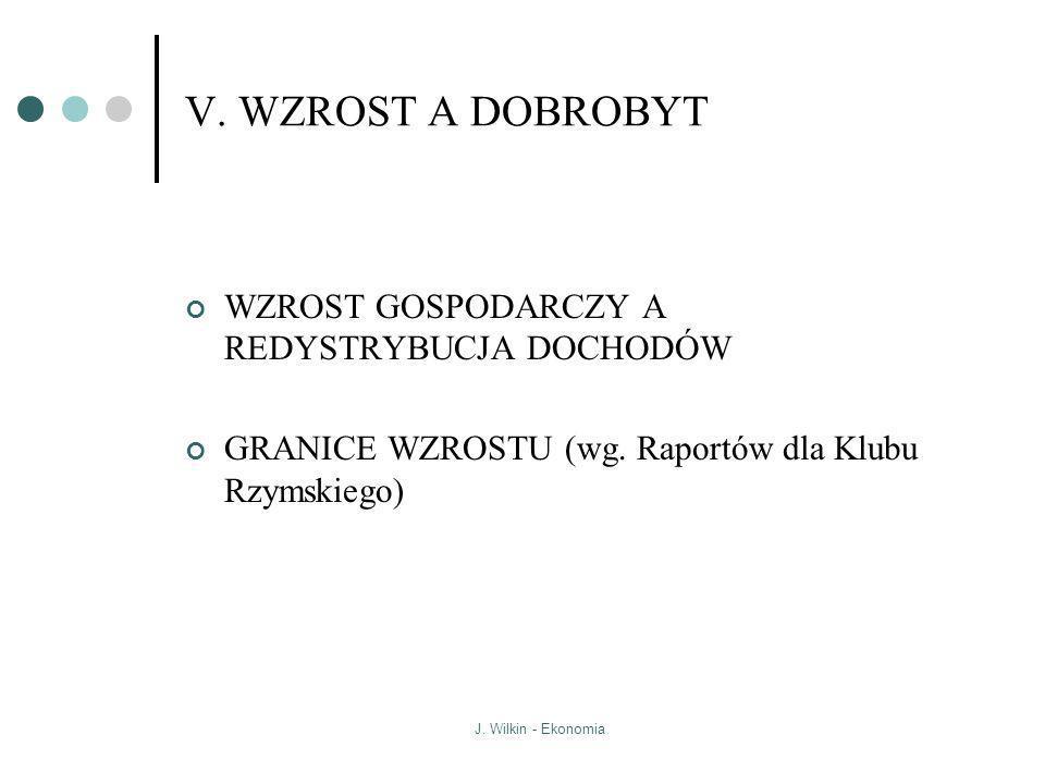 J. Wilkin - Ekonomia V. WZROST A DOBROBYT WZROST GOSPODARCZY A REDYSTRYBUCJA DOCHODÓW GRANICE WZROSTU (wg. Raportów dla Klubu Rzymskiego)