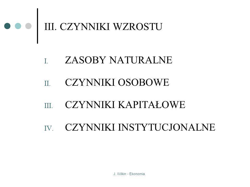 J. Wilkin - Ekonomia III. CZYNNIKI WZROSTU I. ZASOBY NATURALNE II. CZYNNIKI OSOBOWE III. CZYNNIKI KAPITAŁOWE IV. CZYNNIKI INSTYTUCJONALNE