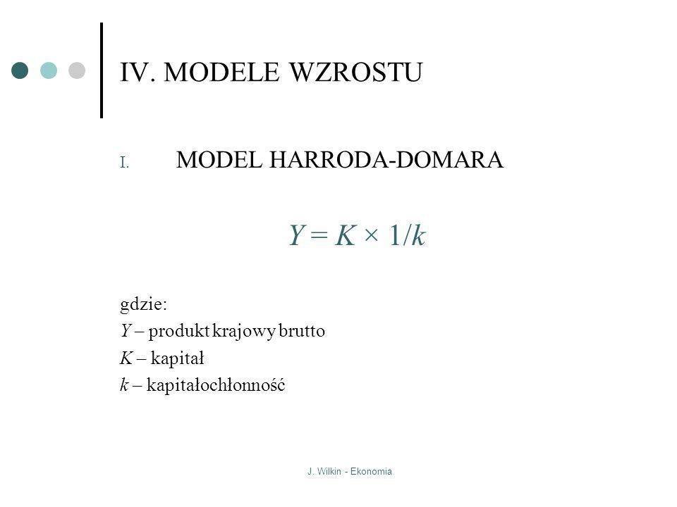 J. Wilkin - Ekonomia IV. MODELE WZROSTU I. MODEL HARRODA-DOMARA Y = K × 1/k gdzie: Y – produkt krajowy brutto K – kapitał k – kapitałochłonność