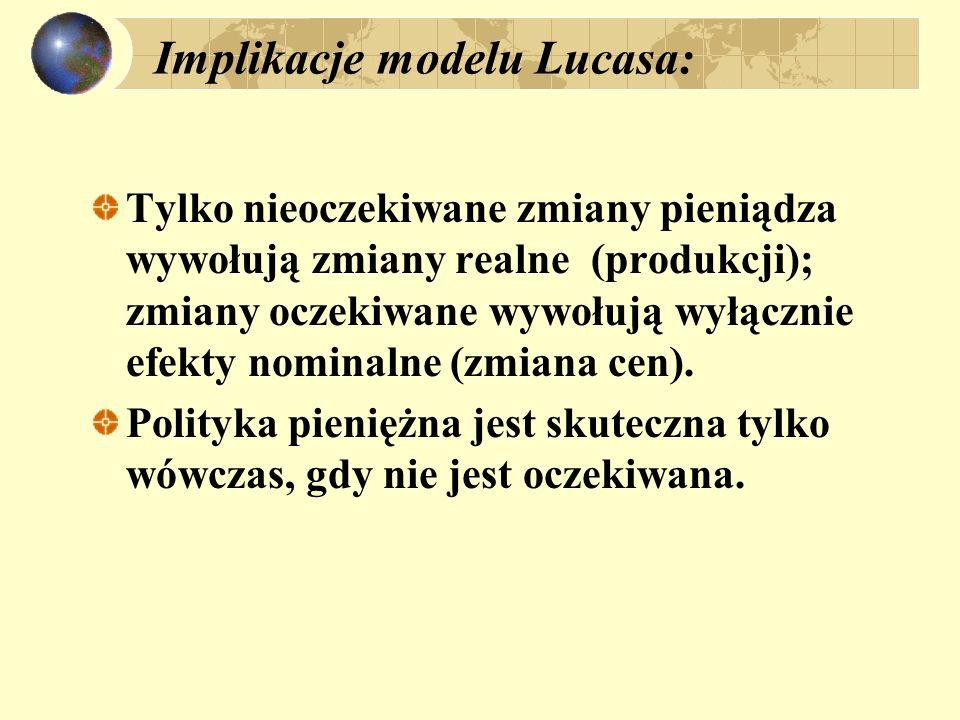 Implikacje modelu Lucasa: Tylko nieoczekiwane zmiany pieniądza wywołują zmiany realne (produkcji); zmiany oczekiwane wywołują wyłącznie efekty nominalne (zmiana cen).