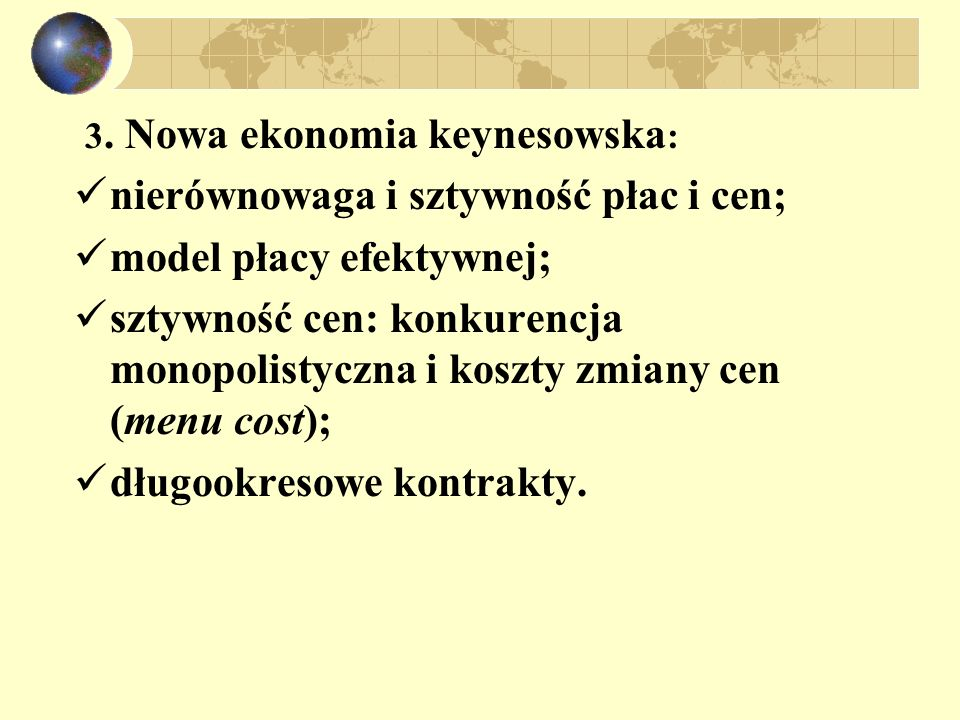 Implikacje modelu sztywnych cen: