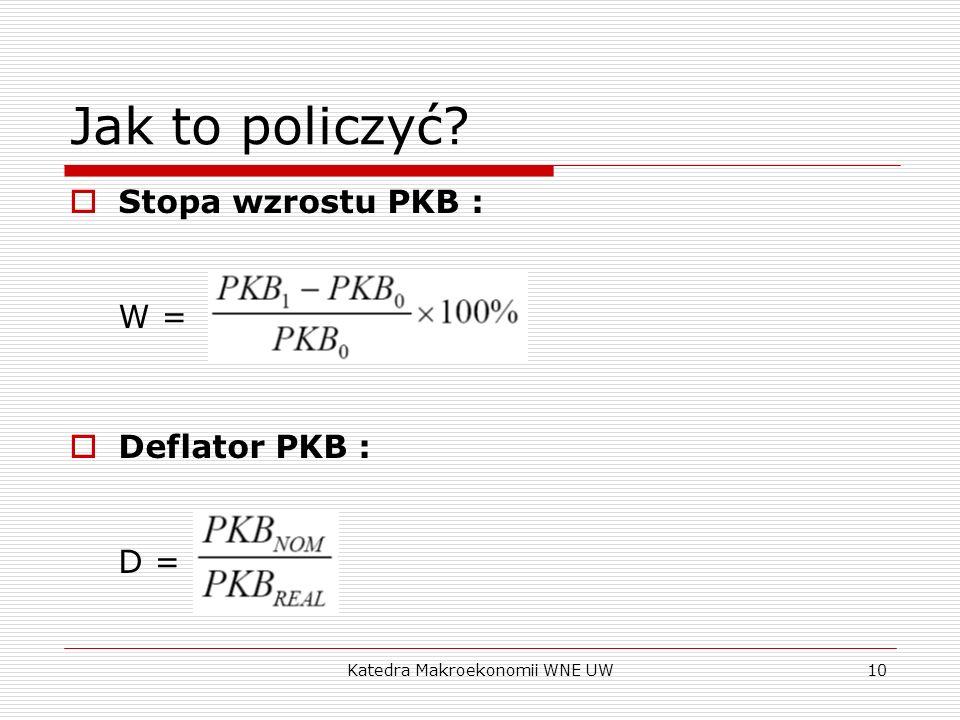 Katedra Makroekonomii WNE UW10 Jak to policzyć? Stopa wzrostu PKB : W = Deflator PKB : D =
