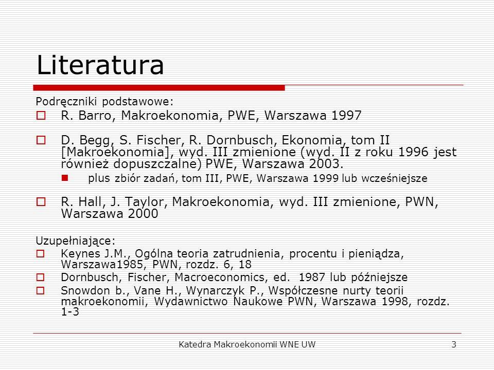 Katedra Makroekonomii WNE UW3 Literatura Podręczniki podstawowe: R. Barro, Makroekonomia, PWE, Warszawa 1997 D. Begg, S. Fischer, R. Dornbusch, Ekonom