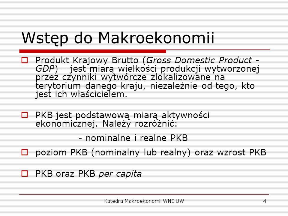 Katedra Makroekonomii WNE UW4 Wstęp do Makroekonomii Produkt Krajowy Brutto (Gross Domestic Product - GDP) – jest miarą wielkości produkcji wytworzone