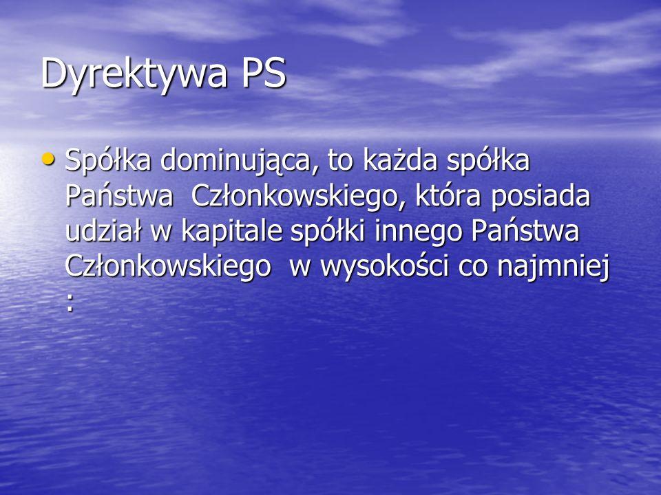 Dyrektywa PS Spółka dominująca, to każda spółka Państwa Członkowskiego, która posiada udział w kapitale spółki innego Państwa Członkowskiego w wysokoś