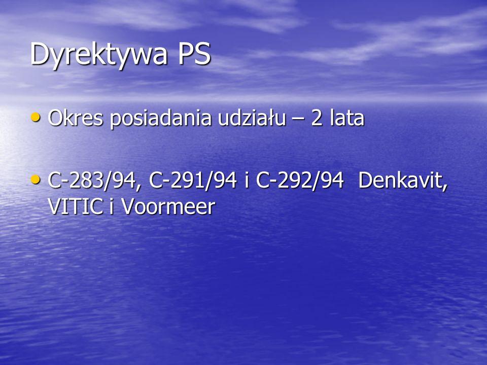 Dyrektywa PS Okres posiadania udziału – 2 lata Okres posiadania udziału – 2 lata C-283/94, C-291/94 i C-292/94 Denkavit, VITIC i Voormeer C-283/94, C-