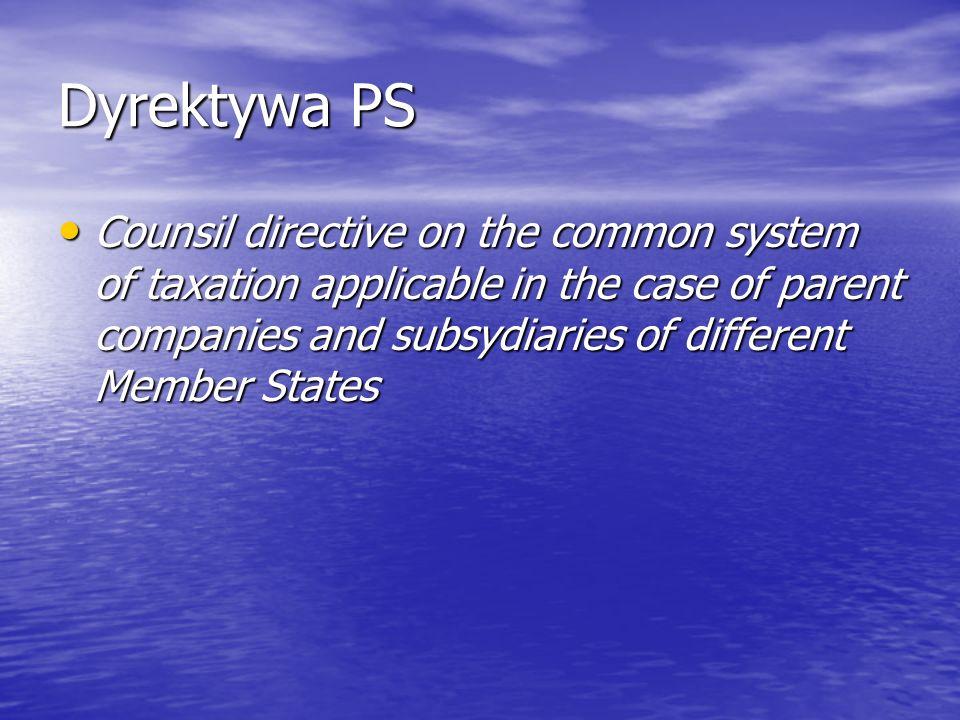 Dyrektywa PS Okres posiadania udziału – 2 lata Okres posiadania udziału – 2 lata C-283/94, C-291/94 i C-292/94 Denkavit, VITIC i Voormeer C-283/94, C-291/94 i C-292/94 Denkavit, VITIC i Voormeer