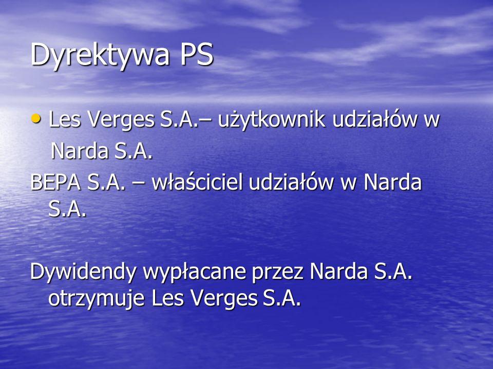 Dyrektywa PS Les Verges S.A.– użytkownik udziałów w Les Verges S.A.– użytkownik udziałów w Narda S.A. Narda S.A. BEPA S.A. – właściciel udziałów w Nar