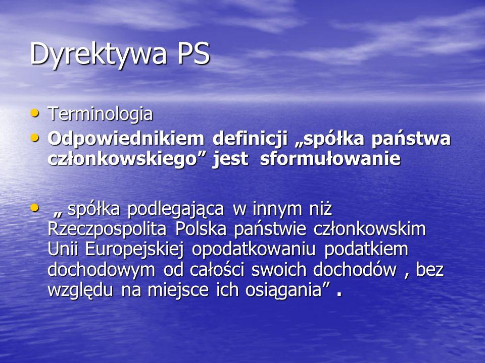 Dyrektywa PS Terminologia Terminologia Odpowiednikiem definicji spółka państwa członkowskiego jest sformułowanie Odpowiednikiem definicji spółka państ