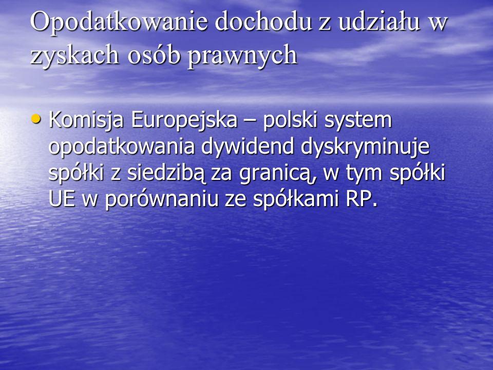 Opodatkowanie dochodu z udziału w zyskach osób prawnych Komisja Europejska – polski system opodatkowania dywidend dyskryminuje spółki z siedzibą za gr