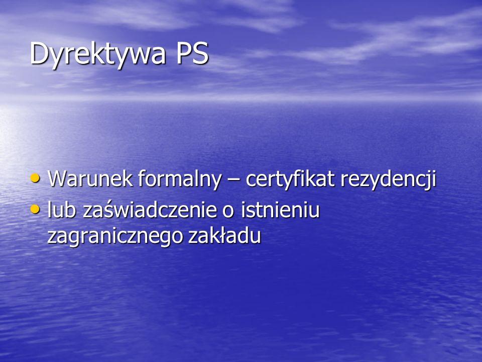 Dyrektywa PS Warunek formalny – certyfikat rezydencji Warunek formalny – certyfikat rezydencji lub zaświadczenie o istnieniu zagranicznego zakładu lub