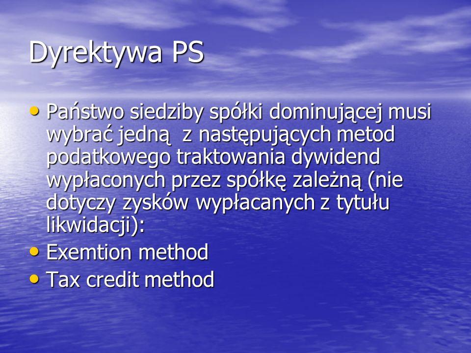 Schemat nr 2 Polska Państwo członkowskie X Państwo członkowskie Z spółka dominująca spółka zależna zakład spółki dominującej dywidenda