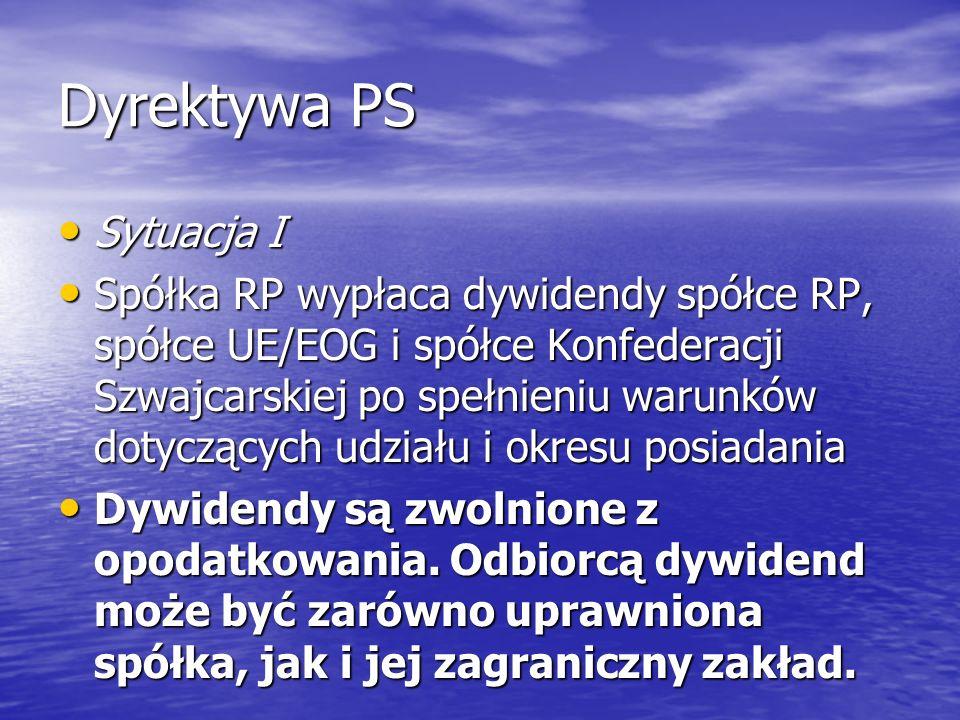 Dyrektywa PS Sytuacja I Sytuacja I Spółka RP wypłaca dywidendy spółce RP, spółce UE/EOG i spółce Konfederacji Szwajcarskiej po spełnieniu warunków dot