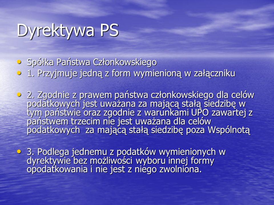 Dyrektywa PS Spółka dominująca, to każda spółka Państwa Członkowskiego, która posiada udział w kapitale spółki innego Państwa Członkowskiego w wysokości co najmniej : Spółka dominująca, to każda spółka Państwa Członkowskiego, która posiada udział w kapitale spółki innego Państwa Członkowskiego w wysokości co najmniej :