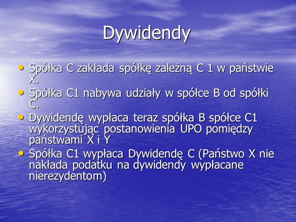 Dywidendy Dywidendy Spółka C zakłada spółkę zależną C 1 w państwie X. Spółka C zakłada spółkę zależną C 1 w państwie X. Spółka C1 nabywa udziały w spó