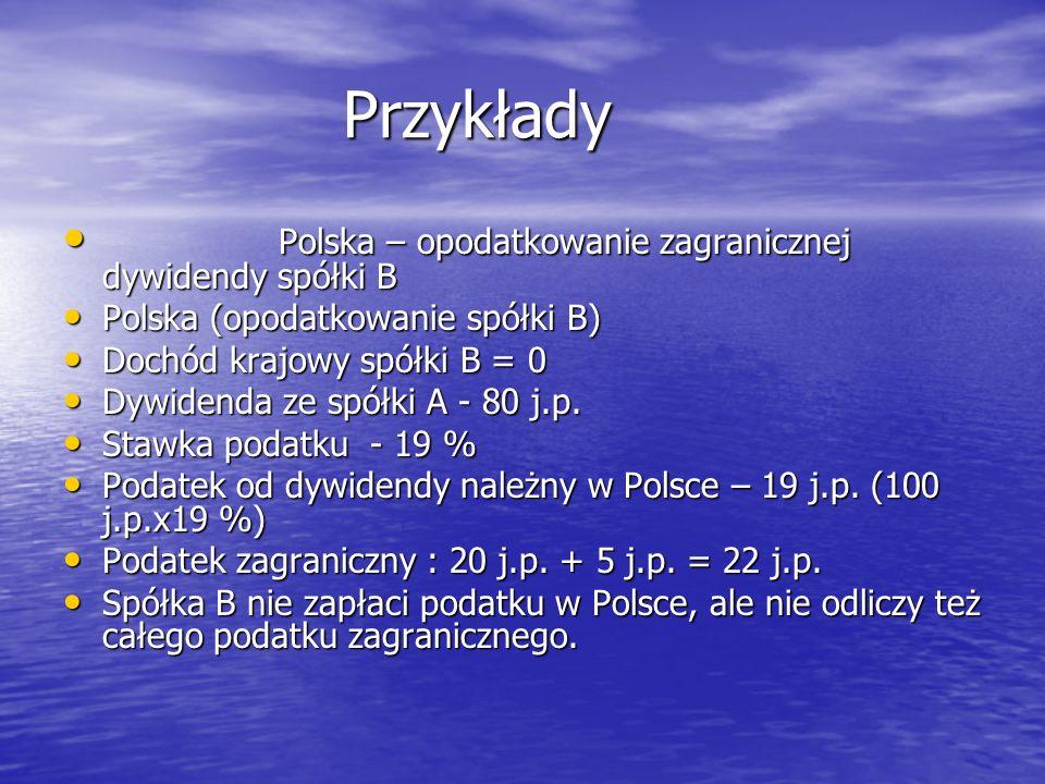 Przykłady Przykłady Polska – opodatkowanie zagranicznej dywidendy spółki B Polska – opodatkowanie zagranicznej dywidendy spółki B Polska (opodatkowani