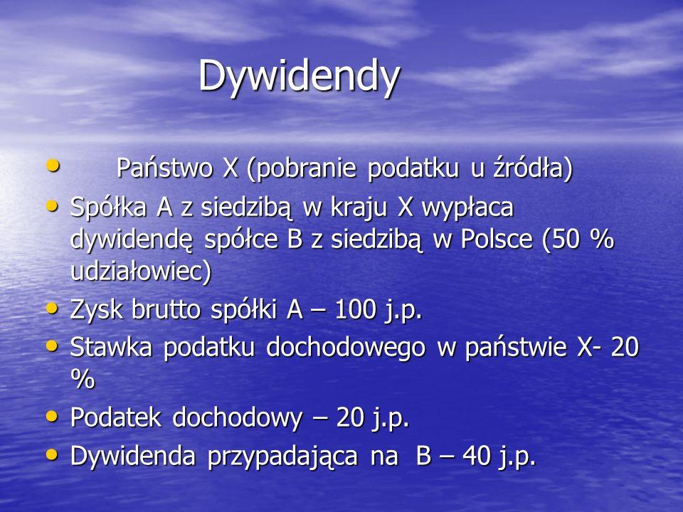 Dywidendy Dywidendy Podatek u źródła (5 % ) –2 j.p.