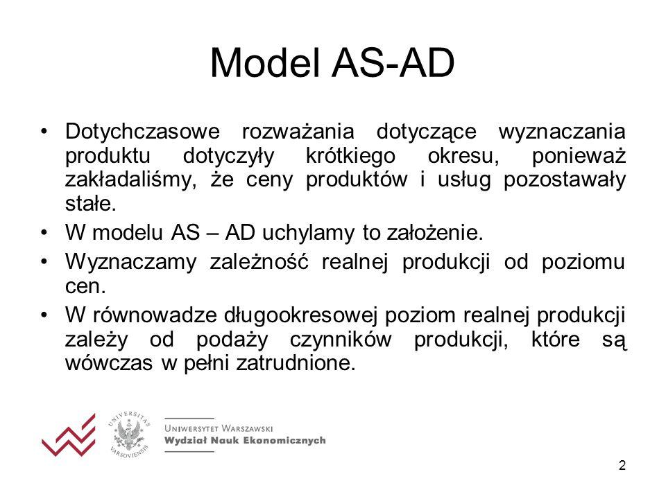 2 Model AS-AD Dotychczasowe rozważania dotyczące wyznaczania produktu dotyczyły krótkiego okresu, ponieważ zakładaliśmy, że ceny produktów i usług poz