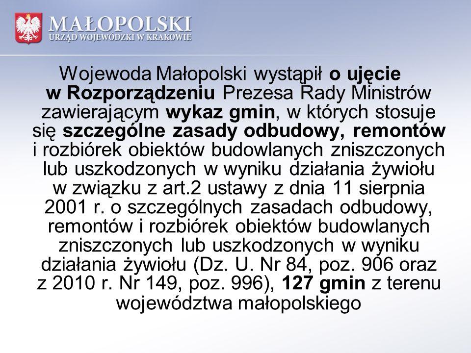 Wojewoda Małopolski wystąpił o ujęcie w Rozporządzeniu Prezesa Rady Ministrów zawierającym wykaz gmin, w których stosuje się szczególne zasady odbudowy, remontów i rozbiórek obiektów budowlanych zniszczonych lub uszkodzonych w wyniku działania żywiołu w związku z art.2 ustawy z dnia 11 sierpnia 2001 r.