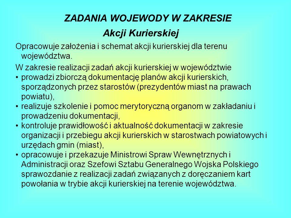 ZADANIA WOJEWODY W ZAKRESIE Akcji Kurierskiej Opracowuje założenia i schemat akcji kurierskiej dla terenu województwa. W zakresie realizacji zadań akc