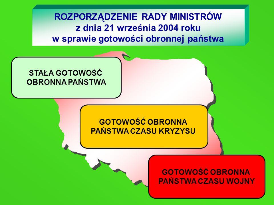 ROZPORZĄDZENIE RADY MINISTRÓW z dnia 21 września 2004 roku w sprawie gotowości obronnej państwa STAŁA GOTOWOŚĆ OBRONNA PAŃSTWA GOTOWOŚĆ OBRONNA PAŃSTW