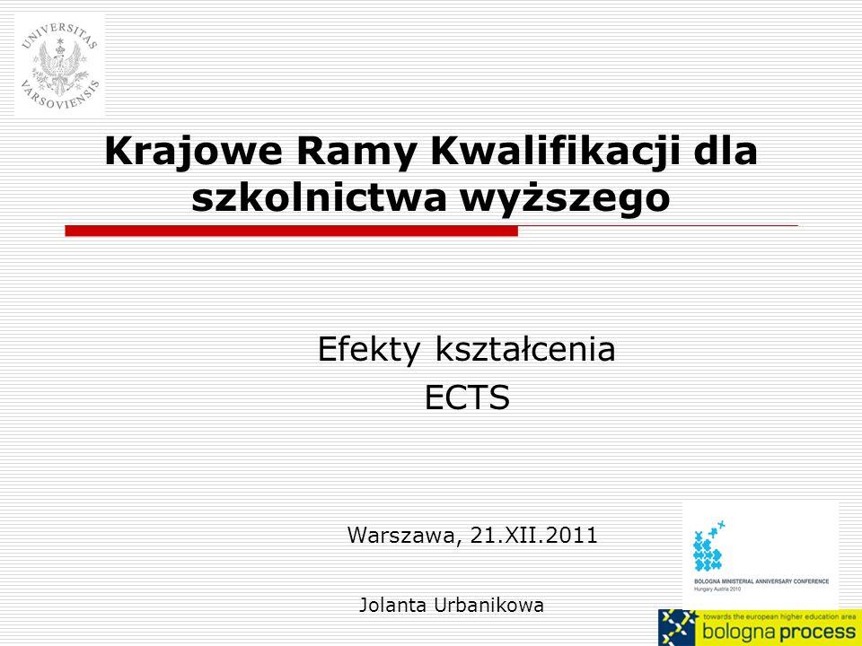 Krajowe Ramy Kwalifikacji dla szkolnictwa wyższego Efekty kształcenia ECTS Jolanta Urbanikowa Warszawa, 21.XII.2011