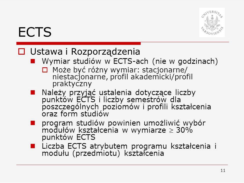 11 ECTS Ustawa i Rozporządzenia Wymiar studiów w ECTS-ach (nie w godzinach) Może być różny wymiar: stacjonarne/ niestacjonarne, profil akademicki/prof