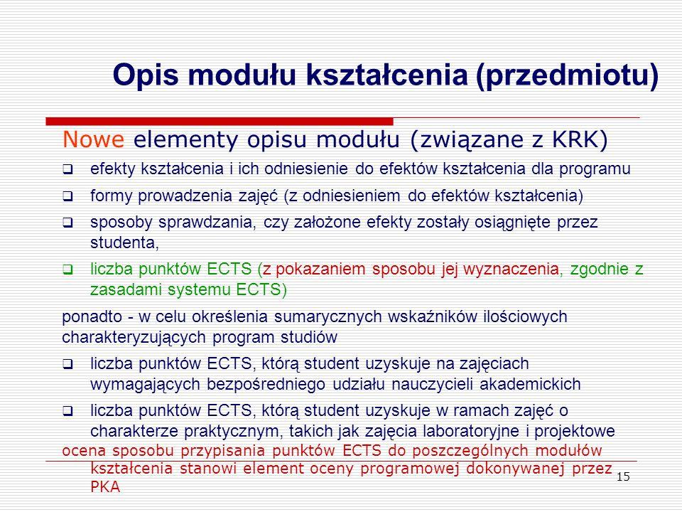 15 Nowe elementy opisu modułu (związane z KRK) efekty kształcenia i ich odniesienie do efektów kształcenia dla programu formy prowadzenia zajęć (z odn