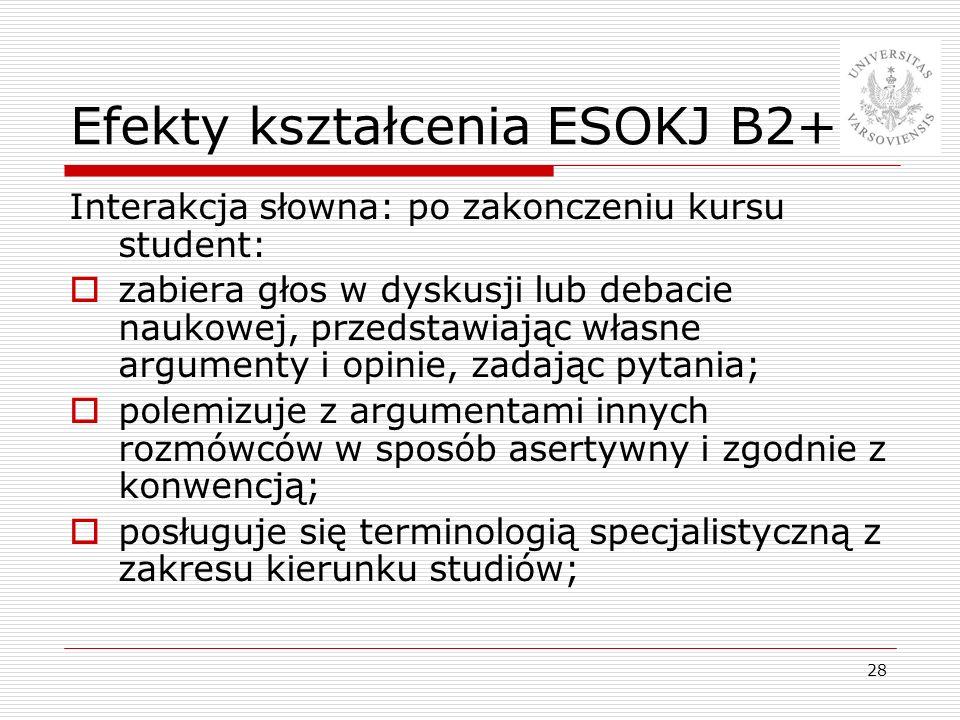 28 Efekty kształcenia ESOKJ B2+ Interakcja słowna: po zakonczeniu kursu student: zabiera głos w dyskusji lub debacie naukowej, przedstawiając własne a