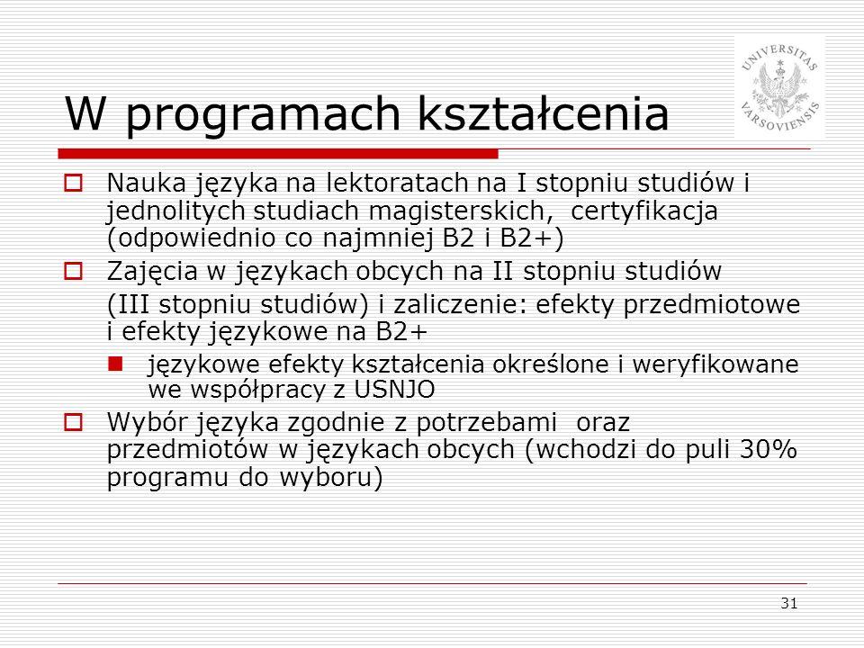 31 W programach kształcenia Nauka języka na lektoratach na I stopniu studiów i jednolitych studiach magisterskich, certyfikacja (odpowiednio co najmni
